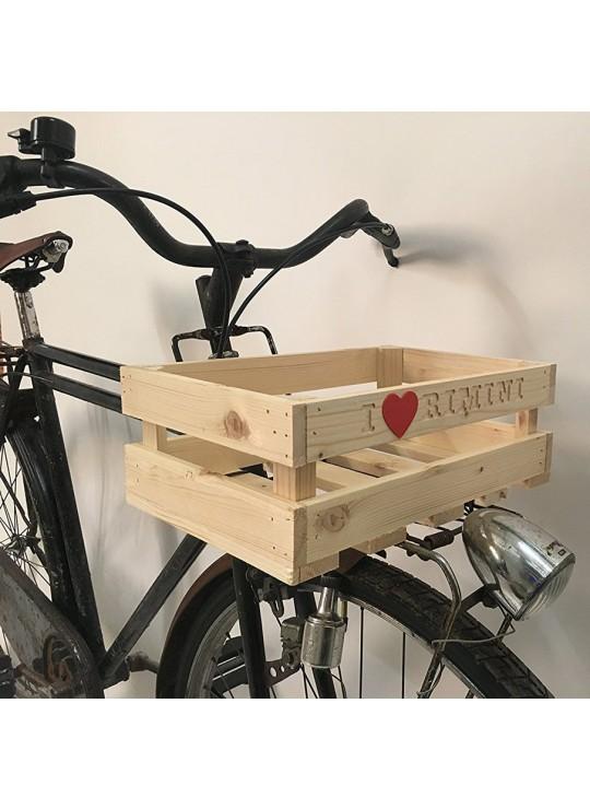 Cesto cassettina in legno per bici